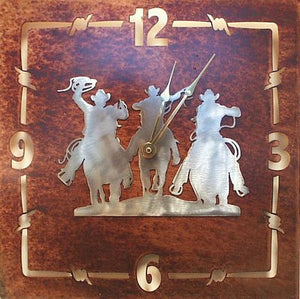 "(TS058-200) ""Round Up"" Western Metal Wall Clock"