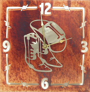 "(TS058-216) ""Hat & Boots"" Western Steel Wall Clock"