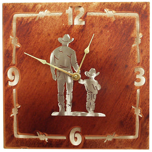 "(TS058-224) ""Father & Son"" Western Steel Wall Clock"