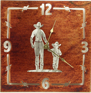"(TS058-254) ""Mother & Daughter"" Western Steel Wall Clock"