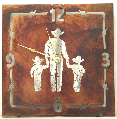 "(TS058-286) ""Father/Daughter/Son"" Western Steel Wall Clock"