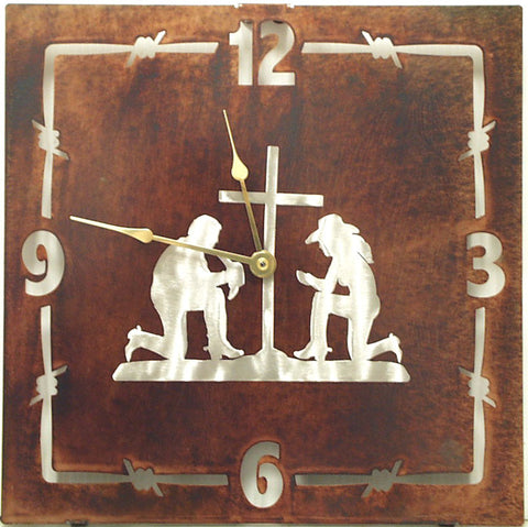 "(TS058-289) ""Couple Praying"" Western Steel Wall Clock"