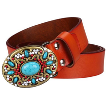 Load image into Gallery viewer, Turquoise Gem Metal Belt Buckle