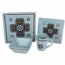 Load image into Gallery viewer, Turquoise Cross Western Dinnerware Set - 16 Piece