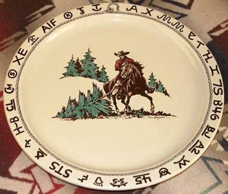 Westward Ho Christmas  Round Platter - 14  Till Goodan Plate Christmas Dishes Rodeo Cowboy Pattern u2013 Wild West Living & Westward Ho Christmas
