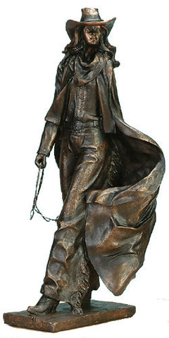 "(UG-CAC715) Cowgirl with Lasso Sculpture 14-1/2"" Tall"