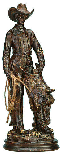 (UG-NFC708) Western Cowboy Sculpture with Lasso & Saddle