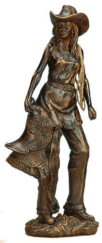 (UG-NFC709) Western Cowgirl Holding Saddle Sculpture