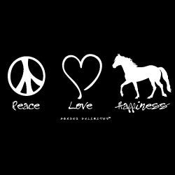 """Peace, Love, Happiness"" Western Horse Hoodie"