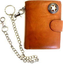 Load image into Gallery viewer, Western Leather Tri-Fold Wallet with Texas Star Concho & Chain
