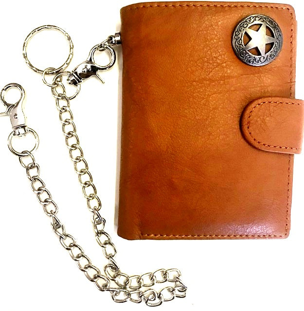 Western Leather Tri-Fold Wallet with Texas Star Concho & Chain