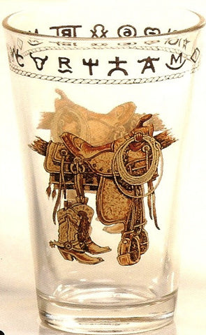 (WC352) 20 OZ. Boots & Saddles Water/Ice Tea Glasses - 4 Piece Set