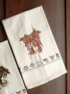 "(WCKIT-BO) ""Boots & Saddle"" 100% Cotton Embroidered Kitchen Towels - 4-Piece Set"