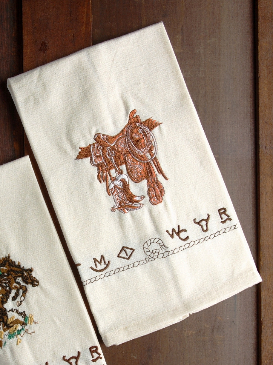 Boots Saddle 100 Cotton Embroidered Kitchen Towel Wild West Living