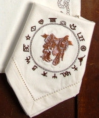 "(WCNAP-BO) ""Boots & Saddle"" 100% Cotton Embroidered Napkins - 4-Piece Set"