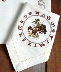 "(WCNAP-BR) ""Bronc Buster"" 100% Cotton Embroidered Napkins - 4-Piece Set"