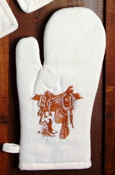 "(WCOM-BO) ""Boots & Saddle"" Western 100% Cotton Embroidered Oven Mitt - Pair"