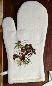 "(WCOM-BR) ""Bronco Buster"" Western 100% Cotton Embroidered Oven Mitt - 2-Piece Set - Pair"
