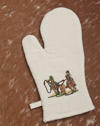 "(WCOM-TR) ""Team Roper"" Western 100% Cotton Embroidered Oven Mitt - 2-Piece Set - Pair"