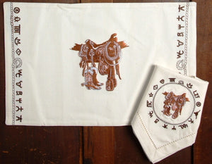 "(WCPLMT-BO) ""Boots & Saddle"" Western Placemats - 4 Piece Set"