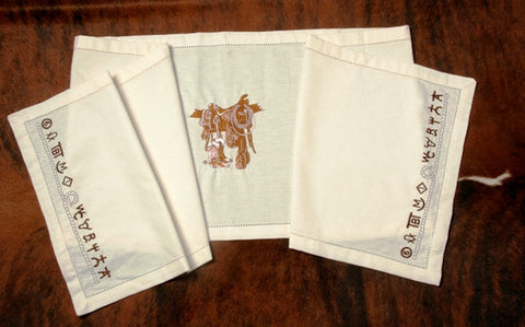 "(WCTB-BO) ""Boots & Saddle"" Western 100% Cotton Embroidered Table Runner"