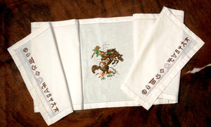 "(WCTR-BR) ""Bronco Buster"" 100% Cotton Embroidered Table Runner"