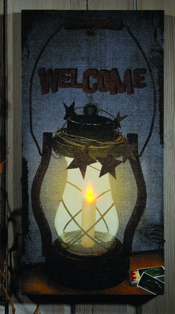 Lighted Welcome Lantern Canvas Art