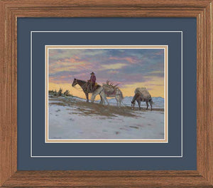 """The Pass"" Elk Hunter with Pack - Horses Small Framed Art Print"