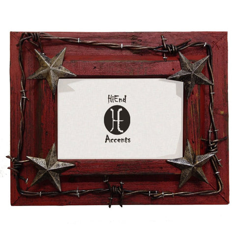 "Western Red Star & Barbwire Photo Frame 4"" x 6"""
