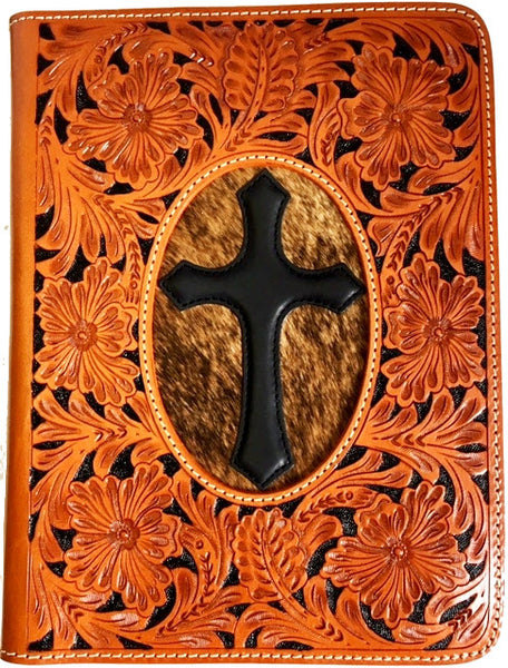 (WFABC118) Western Tooled Leather Bible Cover with Hair-on and Leather Cross