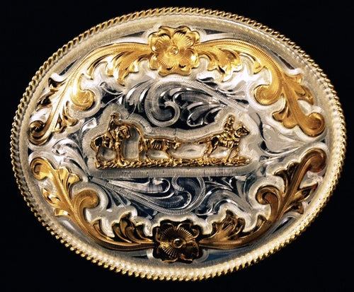 (WFABX07C) Western Oval Silver & Gold Team Roper Belt Buckle