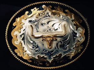 (WFABX11P) Western Tri-Color Longhorn Belt Buckle