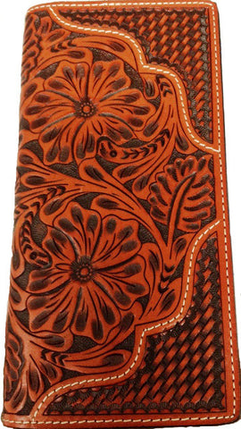 (WFAC1063) Western Tooled & Basketweave Leather Rodeo Wallet/Checkbook Cover