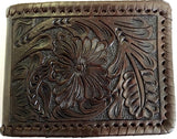 (WFAC1102) Western Floral Brown Tooled Leather Money Clip