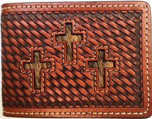 (WFAC1133) Western Basketweave Triple-Cross Hair Inlay Money Clip