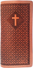 Load image into Gallery viewer, (WFAC1183) Western Tan Leather Rodeo Wallet with Cross