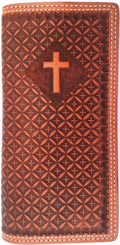 (WFAC1183) Western Tan Leather Rodeo Wallet with Cross