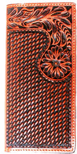 Load image into Gallery viewer, (WFAC1193) Western Tan Tooled & Basketweave Leather Rodeo Wallet