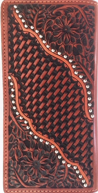 (WFAC1233) Western Rodeo Wallet with Floral Tooling and Basketweave Leather