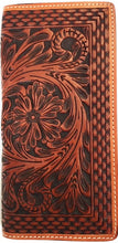 Load image into Gallery viewer, Western Tan Tooled & Basketweave Leather Rodeo Wallet