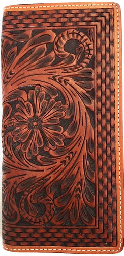 Western Tan Tooled & Basketweave Leather Rodeo Wallet