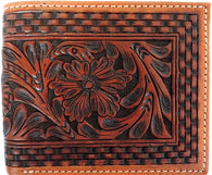 Western Tan Tooled Leather Bi-Fold Wallet