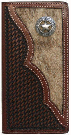 (WFAC1083) Western Brown Leather/Hair On Rodeo Wallet With Texas Star Concho