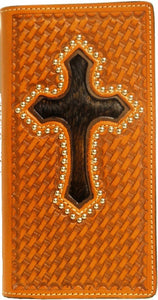 (WFAC274) Western Tan Leather Basketweave Wallet/Checkbook Cover with Hair-On Cross