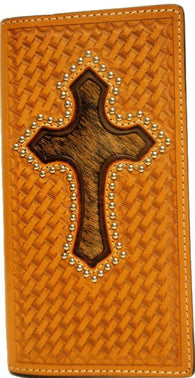 (WFAC275) Western Natural Leather Basketweave/Checkbook Cover with Hair-On Cross