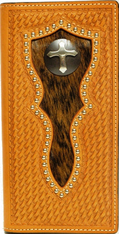 (WFAC285C) Western Tan Rodeo Wallet/Checkbook Cover with Hair-On and Cross Concho