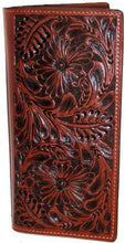 Load image into Gallery viewer, Western Dark Tan Floral Leather Rodeo Wallet/Checkbook Cover