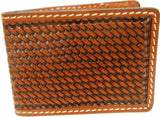 (WFAC453) Western Tan Basketweave Leather Money Clip
