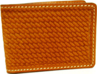 (WFAC455) Western Natural Basketweave Leather Money Clip