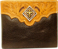 (WFAC715B) Western Leather Bi-Fold Wallet with Gold Cross Concho